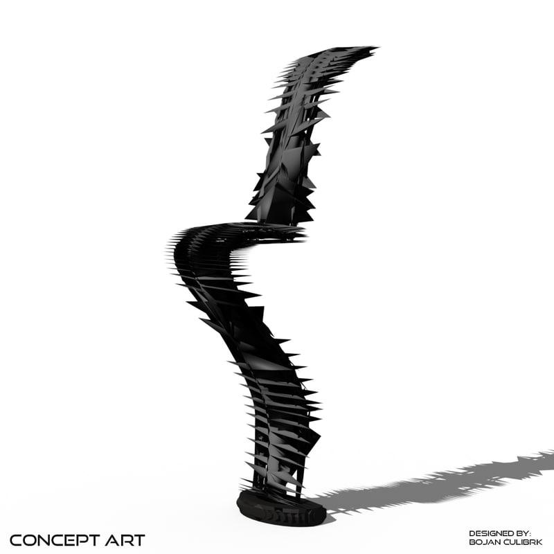 3d concept art chair model
