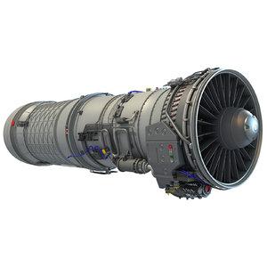 3d afterburning turbofan engine