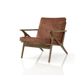 3d model cavett leather chair