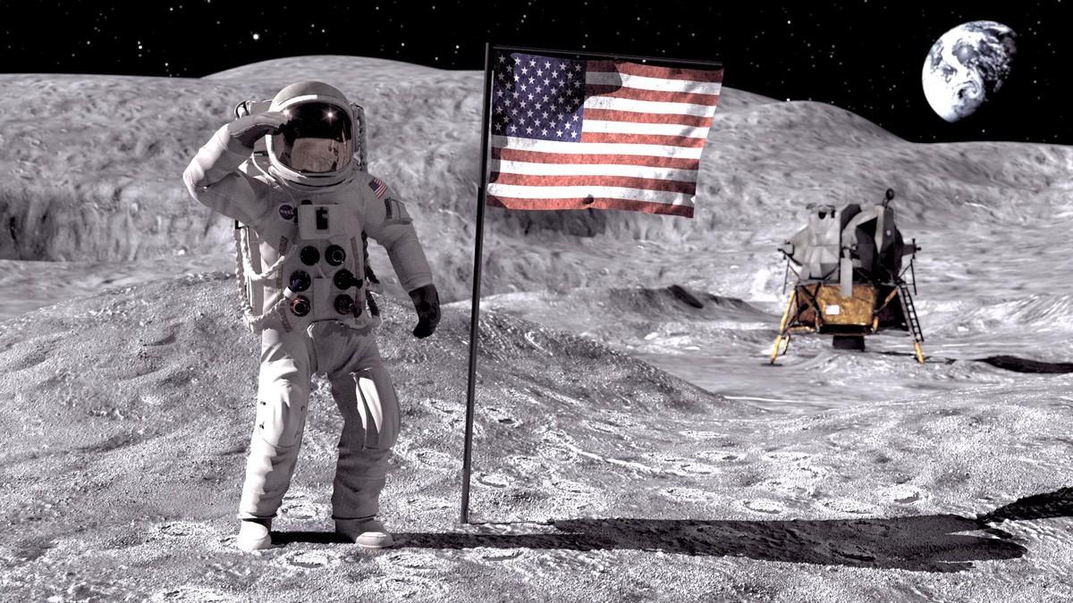3d astronaut landing moon model