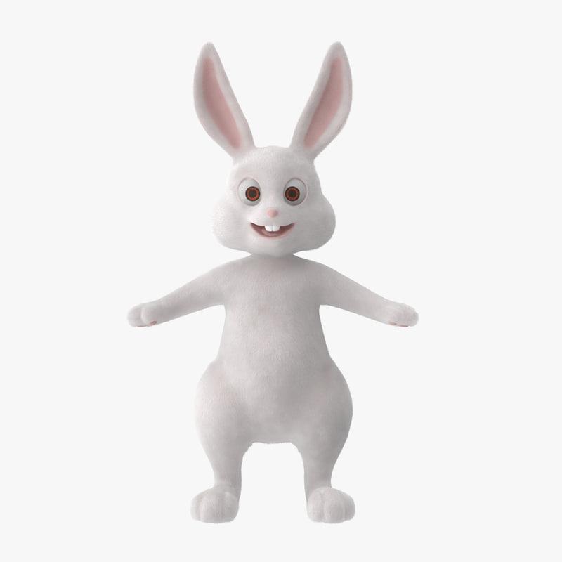 3d model cartoon bunny rigged