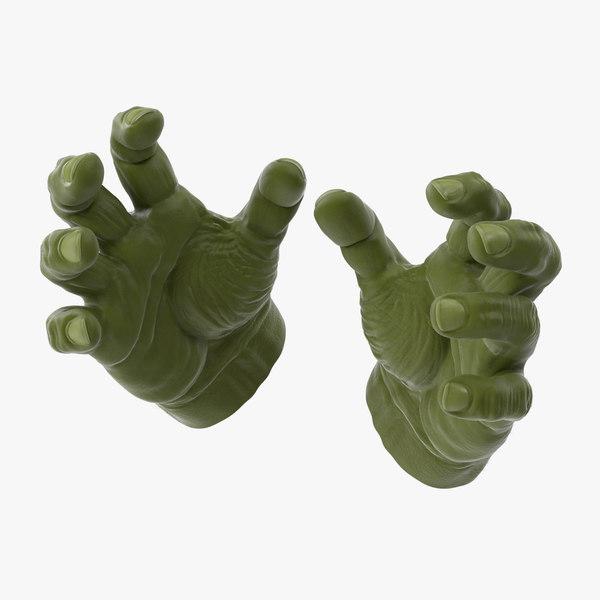 3d model hulk hands open