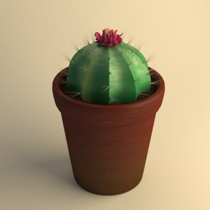 3d stylized potted cactus model