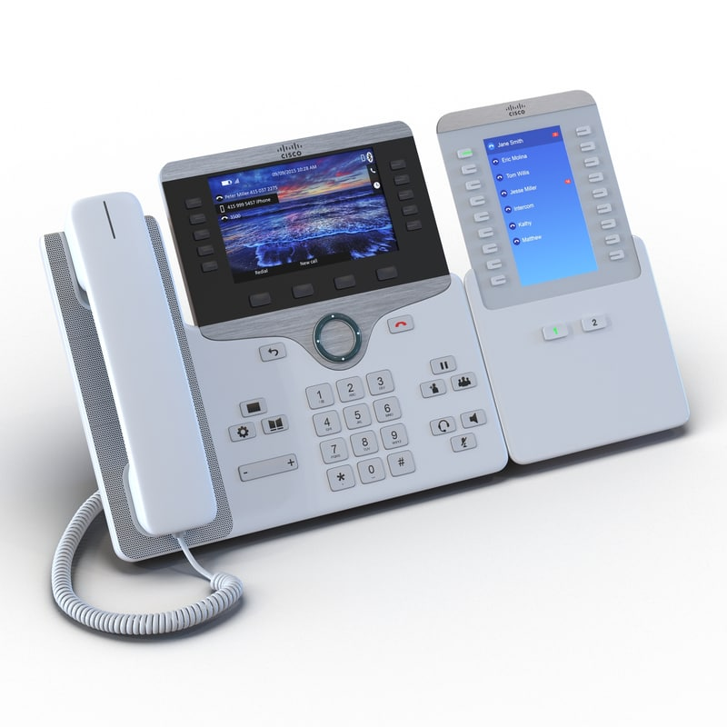 Cisco IP Phone 8861 and Expansion Module White 3D Model