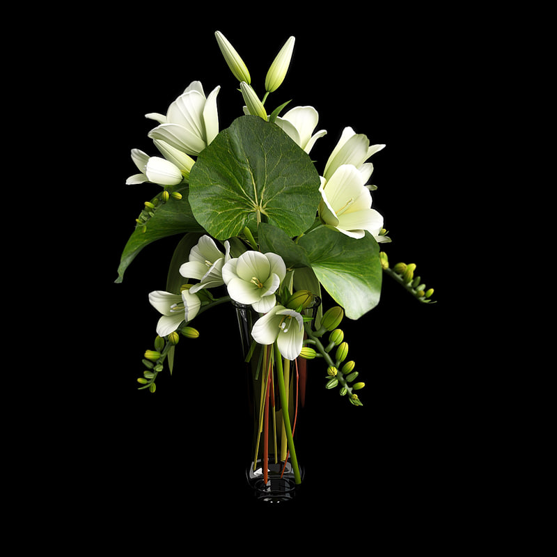 bouquet flowers lily 3d model