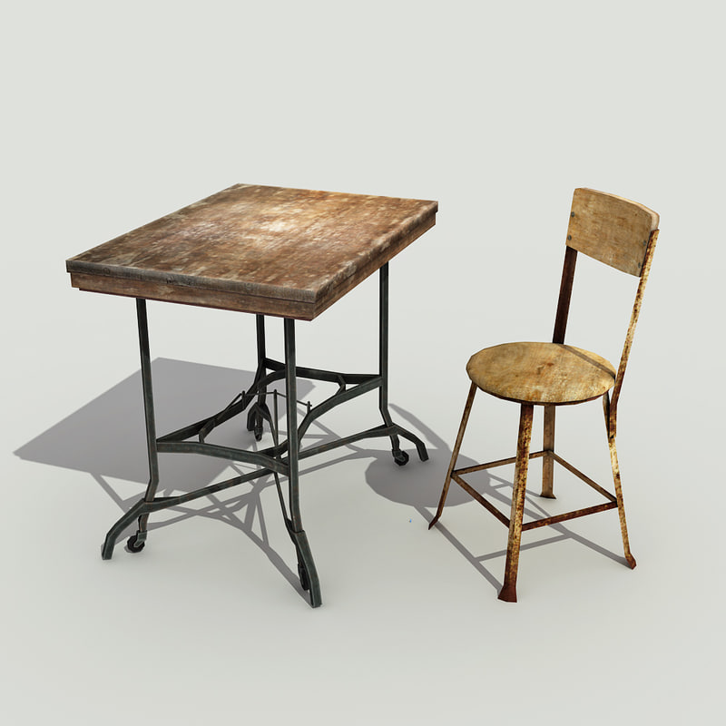 old vintage table chair 3d model