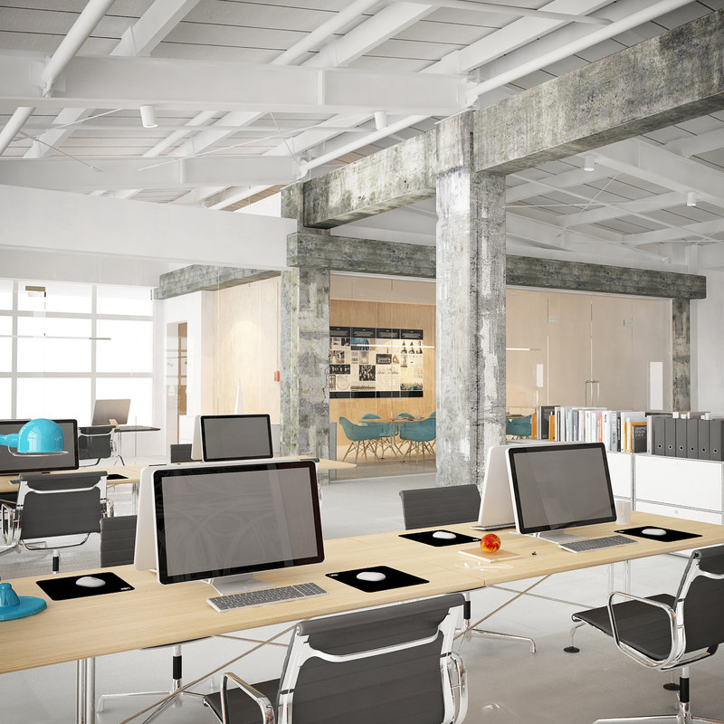 industrial office interior obj