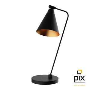 3d model realistic black table lamp