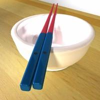 3d model korean chopstick