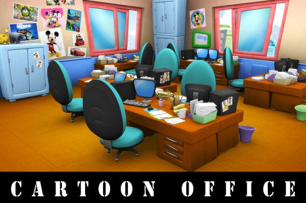 cartoon office 3d model