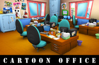 cartoon office 3d model