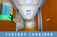 cartoon corridor obj
