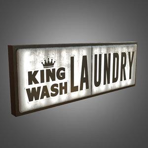 laundry sign big - 3d obj