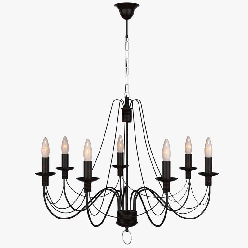 3d hanging chandelier 10010-7l castle model