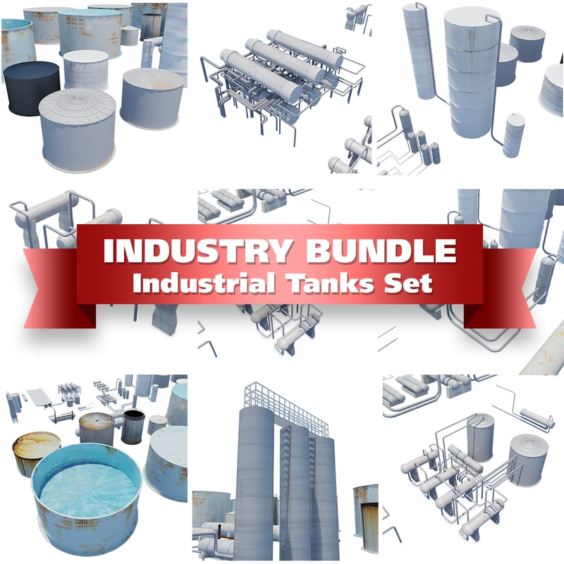 set industrial tanks containers 3d model