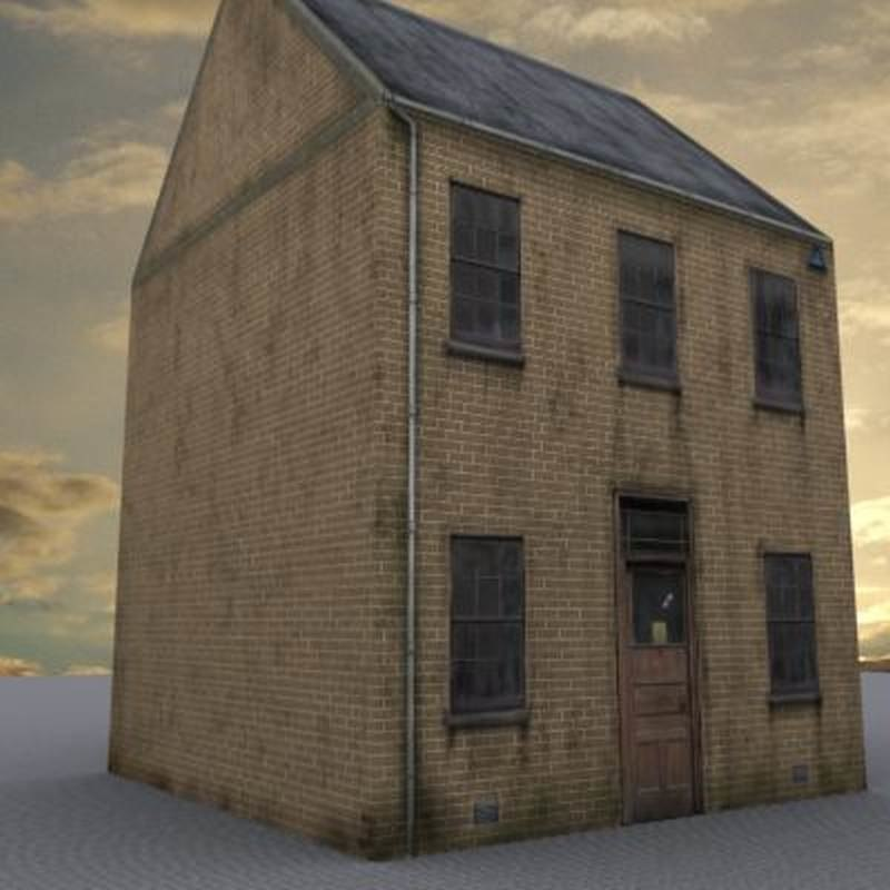 3d model yellow brick building house