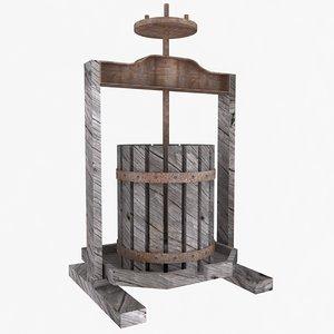 vintage wine press 3d model