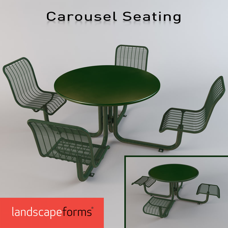 3d model dining group carousel seating