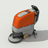 Walk Behind Scrubber Drier - Low Poly