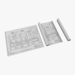house blueprints set 3d model