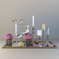 Decor set with Candles and deers
