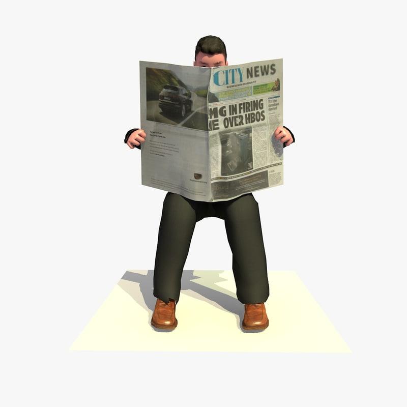 business man sitting reading 3d c4d