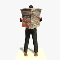 3d model business man standing reading