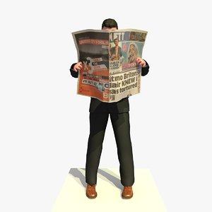 3d model business man standing reading