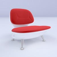 white plastic chair with red velour