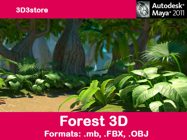 3d model trees forest