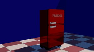 3d red fridge