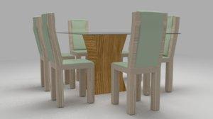 mesa 4 cadeiras 3d model