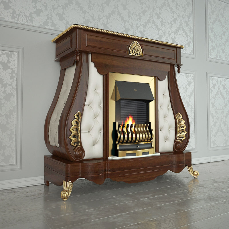 fireplaces gold 3d model