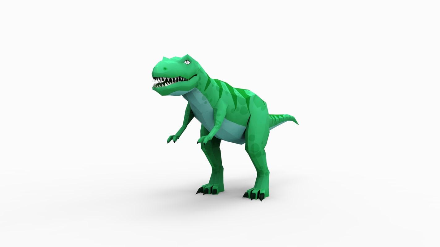 low-poly t-rex c4d