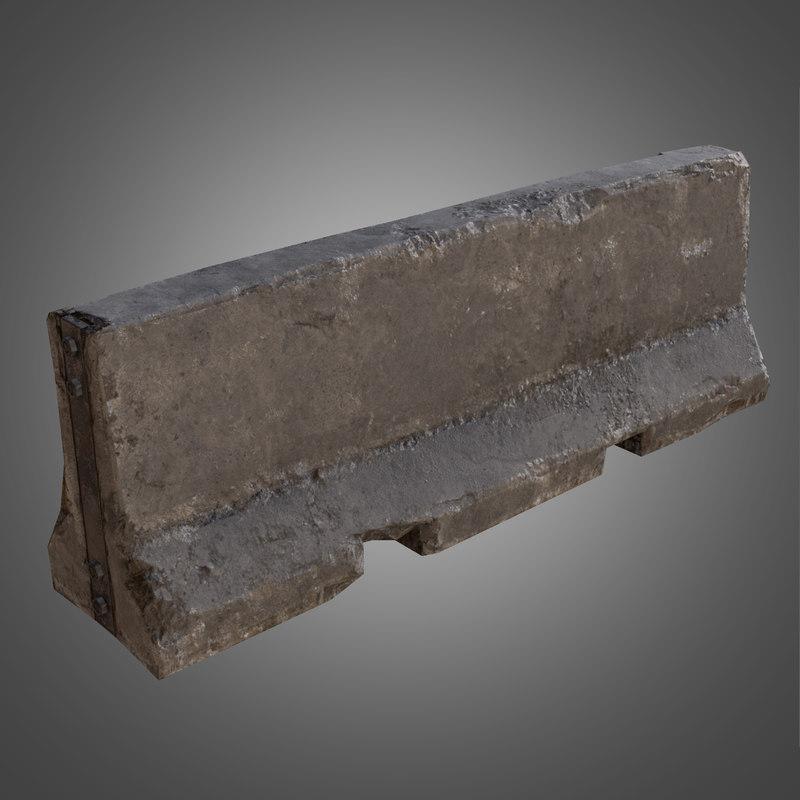concrete barrier - pbr obj
