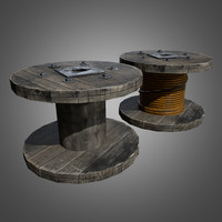 3d model wire spool - pbr