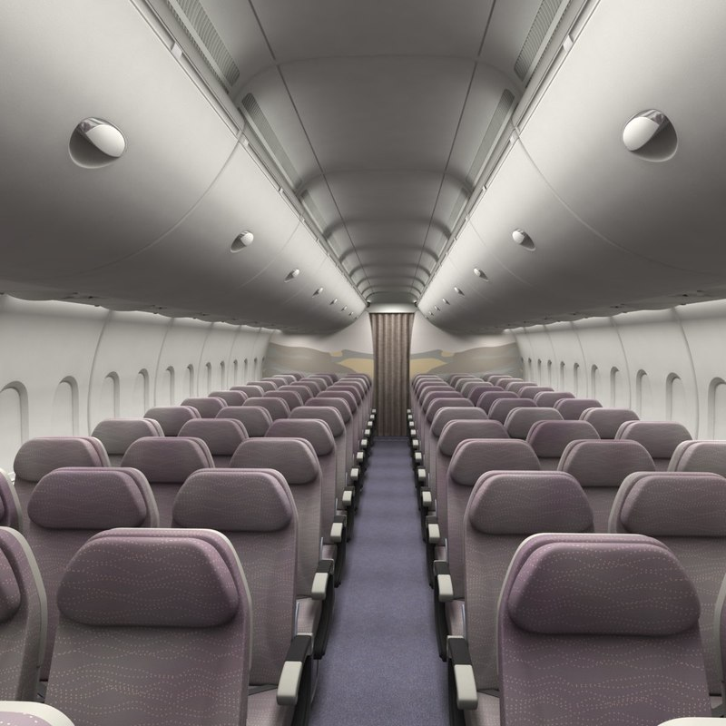 obj economy airplane cabin interior
