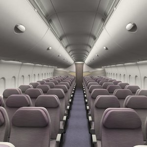 economy airplane cabin interior 3d obj