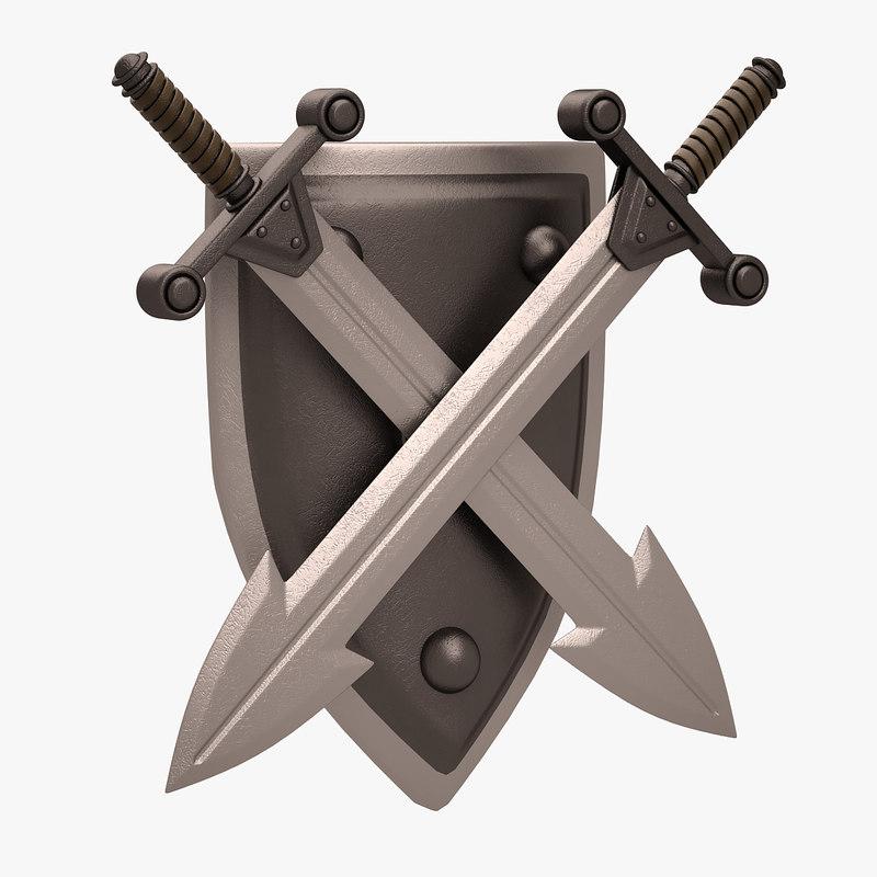 3d decorative sword shield