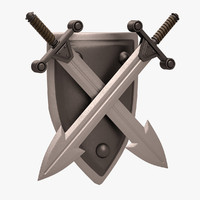 3d decorative sword shield