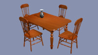 3D models of a wooden table and chairs