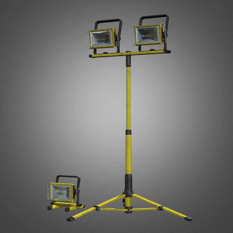 portable construction light set obj