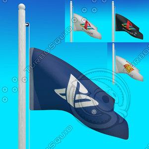 flags playstation - loop 3d model