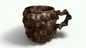 3d model old metal cup