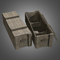 obj large wooden crate -