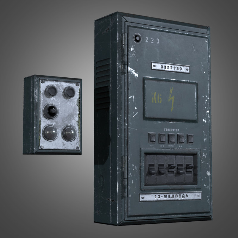3d industrial fuse box - model