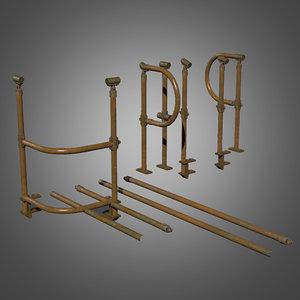 3d model railing set - pbr