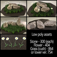 nature assets stone daisy flower 3ds