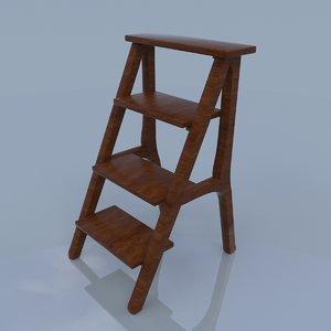 3d library wood ladder model