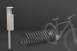 3d public ashtray bicycle spiral
